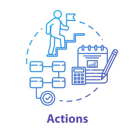 Actions concept icon. Operation implementation. Climbing career ladder. Opportunities for success. Business management idea thin line illustration. Vector isolated outline RGB color drawing Ilustração
