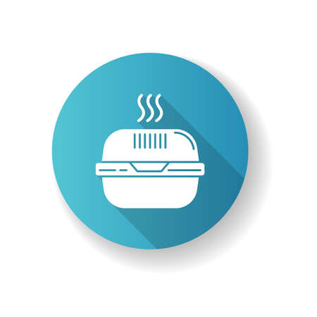 Burger box lue flat design long shadow glyph icon. Fast food takeout container. Takeaway thermo packaging. Plastic lunchbox for hot meal, hamburger. Silhouette RGB color illustration