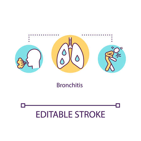 Bronchitis concept icon. Sick lungs with mucus. Unwell patient with chest pain. Respiratory disease idea thin line illustration. Vector isolated outline RGB color drawing. Editable stroke
