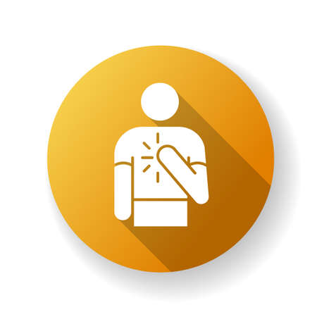 Honesty yellow flat design long shadow glyph icon. Truthfulness, sincerity and credence. Moral virtue, ethical value. Trustworthy person. Reliable, genuine friend Silhouette RGB color illustration Ilustrace