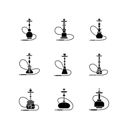 Hookah black glyph icons set on white space. Shisha with wire. Sheesha house. Nargile lounge. Odor from pipe. Scent of vaporizing. Smoking area. Silhouette symbols. Vector isolated illustration