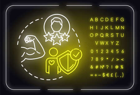 Build on strengths neon light concept icon. Premium membership for gym. Physical health idea. Outer glowing sign with alphabet, numbers and symbols. Vector isolated RGB color illustration Ilustrace