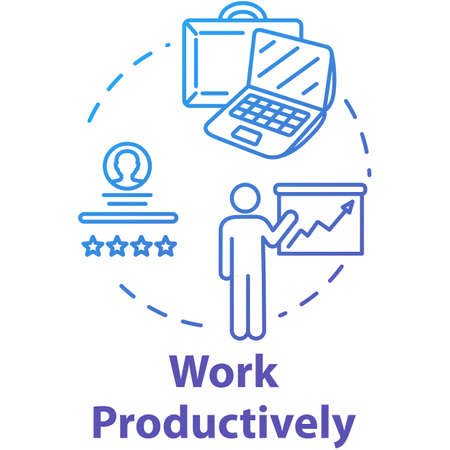 Work productively concept icon. Successful workflow planning. Reaching goal. Effective time management idea thin line illustration. Vector isolated outline RGB color drawing