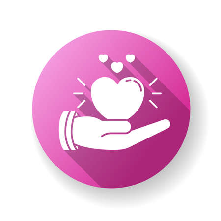 Compassion pink flat design long shadow glyph icon. Emotional support, sympathy. Empathy, solidarity and friendship. Voluntary care, charitable help, kindness. Silhouette RGB color illustration