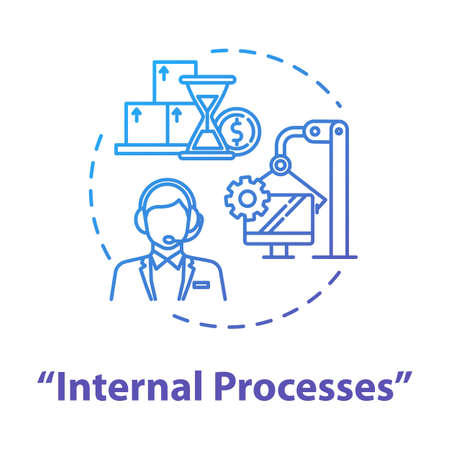 Internal processes concept icon. Risk analysis. System operation. Client attraction. Acquire customers. Optimization idea thin line illustration. Vector isolated outline RGB color drawing