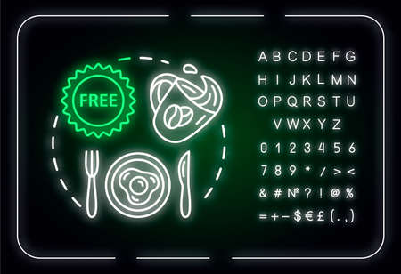 Use free breakfast neon light concept icon. Budget travel, cost effective nutrition idea. Outer glowing sign with alphabet, numbers and symbols. Vector isolated RGB color illustration