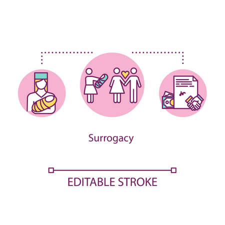 Surrogacy concept icon. Planning family. Infertility help. Surrogate mother. Alternative pregnancy idea thin line illustration. Vector isolated outline RGB color drawing. Editable stroke