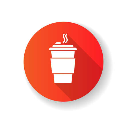 Coffee to go red flat design long shadow glyph icon. Caffeine drink in plastic cup. Hot beverage, tea disposable paper mug with lid. Takeout cappuccino, latte. Silhouette RGB color illustration