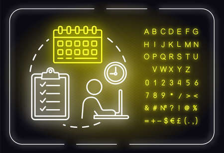 Planning period neon light concept icon. Company strategy check. Scheduling work idea. Outer glowing sign with alphabet, numbers and symbols. Vector isolated RGB color illustration