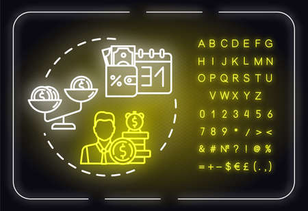 Financial forecast neon light concept icon. Stock sales success. Business management idea. Outer glowing sign with alphabet, numbers and symbols. Vector isolated RGB color illustration
