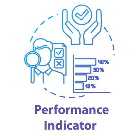 Performance indicator concept icon. Assessment report. Process optimization. Metrics for evaluation. Corporate management idea thin line illustration. Vector isolated outline RGB color drawing