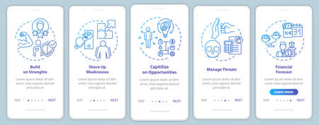 Building up strength onboarding mobile app page screen with concepts. Money growth. Management walkthrough 5 steps graphic instructions. UI vector template with RGB color illustrations