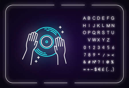 DJ neon light icon. Outer glowing effect. Sign with alphabet, numbers and symbols. Night club entertainment, house music, nightclub discotheque. Vinyl record vector isolated RGB color illustration
