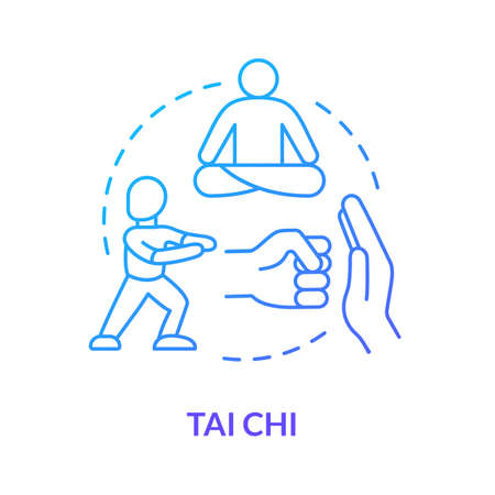Tai chi concept icon. Traditional chinese martial art idea thin line illustration. Oriental practice, defence training and meditation technique. Vector isolated outline RGB color drawing