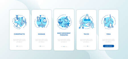 Sensory medicine onboarding mobile app page screen with concepts. Body movement therapies walkthrough five steps graphic instructions. UI vector template with RGB color illustrations