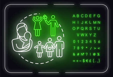 Family neon light concept icon. Self-building for fulfilling life. Insurance for people idea. Outer glowing sign with alphabet, numbers and symbols. Vector isolated RGB color illustration