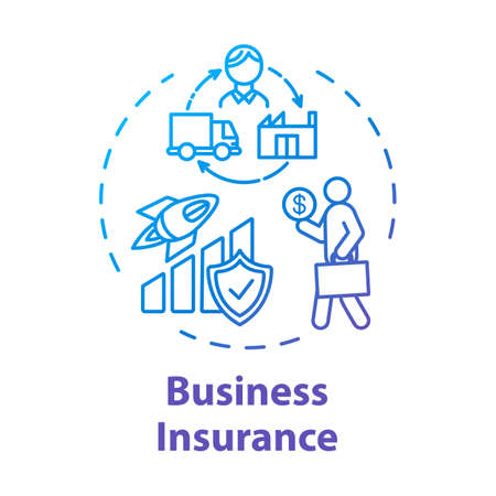 Business insurance concept icon. Savings protection. Money loss prevention. Policy for employee. Capital growth idea thin line illustration. Vector isolated outline RGB color drawing. Editable stroke