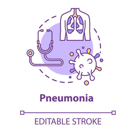 Pneumonia concept icon. Lung inflammation. Disease diagnosis. Respiratory illness. Bronchi, trachea. Healthcare idea thin line illustration. Vector isolated outline RGB color drawing. Editable stroke