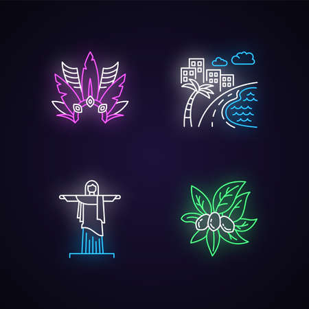 Brazil neon light icons set. Crown with plumage. South America cityscape. Christ the Redeemer. Religion sculpture. Signs with outer glowing effect. Vector isolated RGB color illustrations