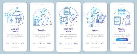 Time strategies onboarding mobile app page screen with concepts. Realization and promotion. Career walkthrough 5 steps graphic instructions. UI vector template with RGB color illustrations