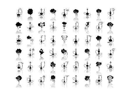 Hookah bar drop shadow black glyph icons set. Sheesha house. Nargile lounge. Odor from pipe. Scent of vaporizing. Smoking area. Fragrance emblem.Isolated vector illustrations on white space Illustration