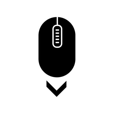 Scroll down mouse black glyph icon. Internet page browsing and scrolling. Website pointer. PC mouse with buttons and wheel . Silhouette symbol on white space. Vector isolated illustration