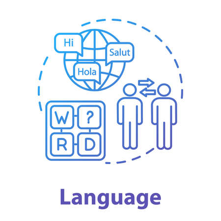 Language concept icon. Ability to communicate in different languages. Knowledge of foreign speak talk idea thin line illustration. Vector isolated outline RGB color drawing