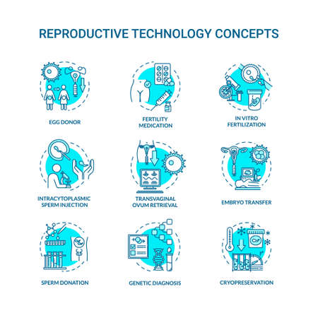 Reproductive technology turquoise concept icons set. In vitro fertilization. Egg donor. Alternative pregnancy idea thin line RGB color illustrations. Vector isolated outline drawings. Editable stroke