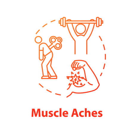 Muscle aches concept icon. Injury and physical strain. Arm inflammation. Hurt from overwork. Joint pain. Influenza symptom idea thin line illustration. Vector isolated outline RGB color drawing