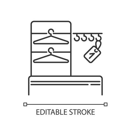 Wardrobe pixel perfect linear icon. Thin line customizable illustration. Dressing room, empty checkroom contour symbol. Cloakroom with trempels vector isolated outline drawing. Editable stroke