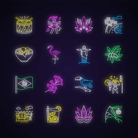 Brazilian carnival neon light icons set. Street party. South America traditions. Local culture. Sand castle on the coast. Signs with outer glowing effect. Vector isolated RGB color illustrations