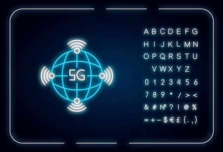 5g worldwide availability neon light icon. Global deployment. Mobile cellular network coverage. Outer glowing effect. Sign with alphabet, numbers and symbols. Vector isolated RGB color illustration