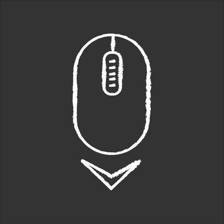 Scrolling mouse chalk white icon on black background. Down arrowhead indicator. Internet page browsing cursor. PC mouse and arrow. Website pointer. Isolated vector chalkboard illustration