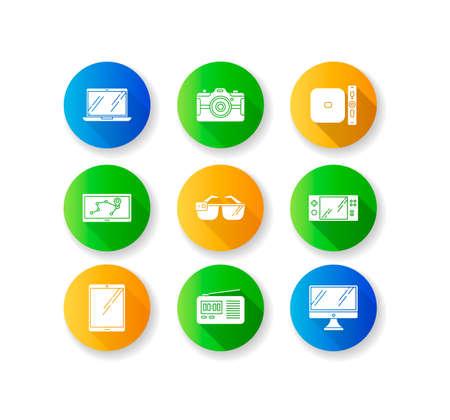 Mobile devices flat design long shadow glyph icons set. Pocket electronic gadgets. Tablet, laptop, computer. Navigator, smartglasses, radio set. Compact digital tool. Silhouette RGB color illustration