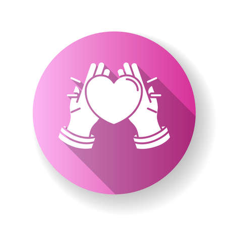Kindness pink flat design long shadow glyph icon. Emotional affection, love and support, friendship. Voluntary help, charity, welface concern. Hands holding heart Silhouette RGB color illustration Ilustrace