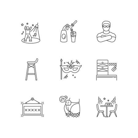 Night club leisure pixel perfect linear icons set. Nightclub entertainment, clubbing party customizable thin line contour symbols. Isolated vector outline illustrations. Editable stroke