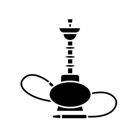 Hookah black glyph icon. Sheesha house. Glass sphere base. Popular nargile lounge. Odor from pipe. Scent of vaporizing. Smoking area. Silhouette symbol on white space. Vector isolated illustration Ilustracja