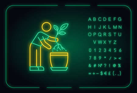 Replanting neon light icon. Transplanting. Potting plants, changing planter. Planting seedling. Outer glowing effect. Sign with alphabet, numbers and symbols. Vector isolated RGB color illustration