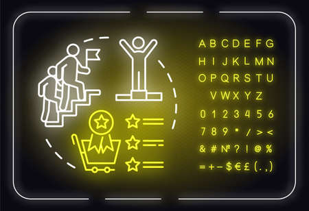 Competitive advantages neon light concept icon. Solution, victory. Boost forward. Business strategy idea. Outer glowing sign with alphabet, numbers and symbols. Vector isolated RGB color illustration