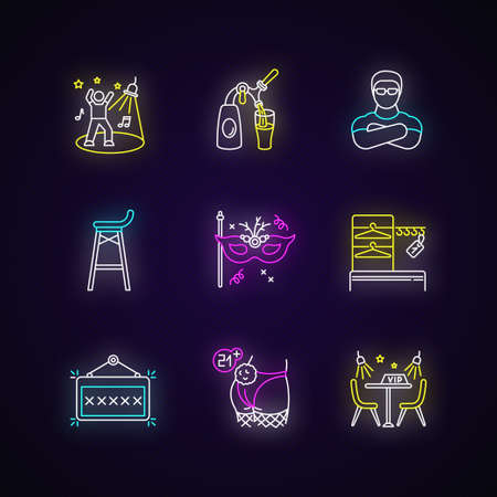 Night club leisure neon light icons set. Nightclub party, clubbing lifestyle signs with outer glowing effect. Dancing and drinking establishment. Vector isolated RGB color illustrations