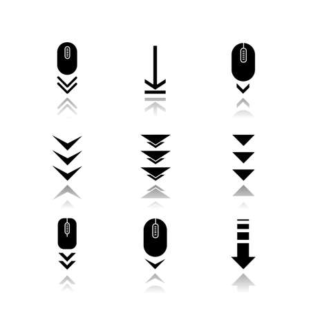Scroll down buttons drop shadow black glyph icons set. Internet page browsing and download indicators. Web cursor. PC elements with arrowheads. Isolated vector illustrations on white space Çizim