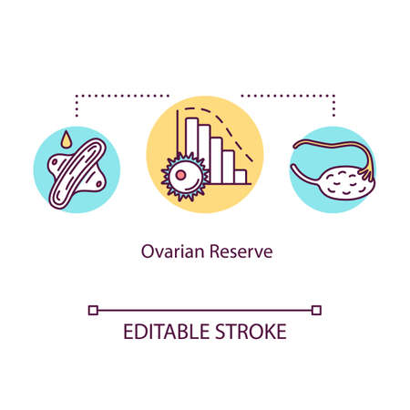 Ovarian reserve concept icon. Infertility treatment. Maternal age. Female healthcare. Reproductive technology idea thin line illustration. Vector isolated outline RGB color drawing. Editable stroke