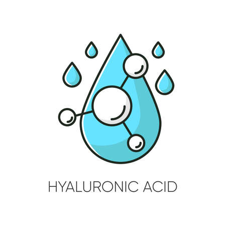 Hyaluronic acid RGB color icon. Hydrating chemical formula. Collagen to prevent wrinkles. Anti-aging effect. Water drop. Korean beauty. Cosmetic ingredient. Isolated vector illustration