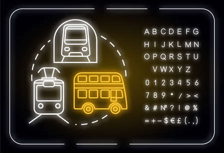 Public transport neon light concept icon. Affordable travel means, inexpensive tourism idea. Outer glowing sign with alphabet, numbers and symbols. Vector isolated RGB color illustration Ilustración de vector