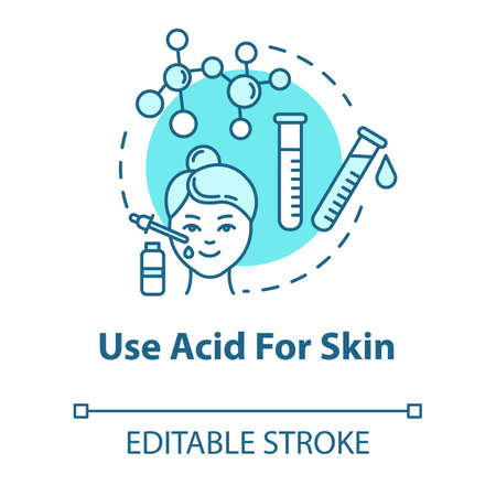 Use acid for skin, cosmetology concept icon. Face skin rejuvenation, AHA and BHA beauty products idea thin line illustration. Vector isolated outline RGB color drawing. Editable stroke