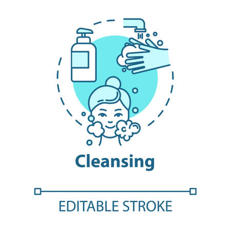 Cleansing, skin purification concept icon. Face washing, cleanser use, hygienic procedure, cosmetology idea thin line illustration. Vector isolated outline RGB color drawing. Editable stroke