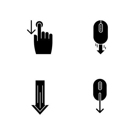 Scrolldown black glyph icons set on white space. Swipe down indicators for smartphone touchscreen. Arrows mobile app interface navigational buttons. Silhouette symbols. Vector isolated illustration Çizim