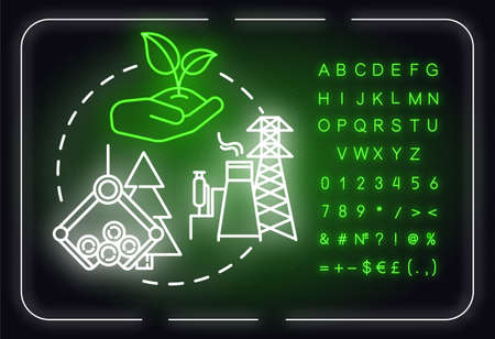 Environmental planning neon light concept icon. Sustainability, protection. Landscape use idea. Outer glowing sign with alphabet, numbers and symbols. Vector isolated RGB color illustration Ilustração