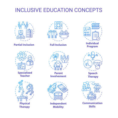 Inclusive education concept icons set. Individual program. Partial and full inclusion. Specialized learning idea thin line RGB color illustrations. Vector isolated outline drawings. Editable stroke