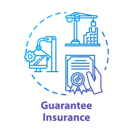 Guarantee insurance concept icon. Documental agreement. Safety coverage for property. Business contract idea thin line illustration. Vector isolated outline RGB color drawing. Editable stroke Ilustração